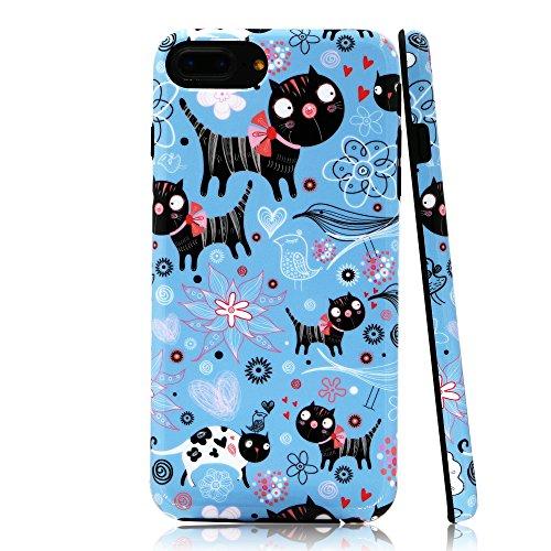 lartin Weicher Flexibler Jellybean Gel TPU Fall für iPhone 8Plus/iPhone 7Plus/iPhone 6S Plus/iPhone 6Plus, Funny Cats and Floral (I Phone 6 Fällen Cheetah)