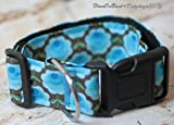 Hundehalsband Retroblumen blau mit Stoffbezug und Acetalverschluss