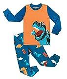 Tkria Jungen Schlafanzug Zweiteiliger Nachtwäsche Baumwolle Lange Kinder Pyjama- Gr. 92(1-2Jahre), Orange