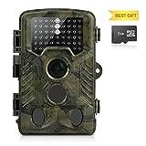 Cámara de Caza con 8GB Tarjeta Micro SD Aidodo 16 MP 1080P HD Cámara Nocturna Caza 49 IR Cámara de vigilancia Con Sensor de infrarrojos de 3 Zonas IP56 Impermeable Infrarrojo 25M 120º Angulo Amplio Sensor de Movimiento