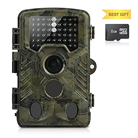 Wildlife Camera, Aidodo 1080P HD Trail Camera 16 MP Surveillance Camera with 3 Zone Infrared Sensor IP56 Waterproof, 82ft 25m 120°Wide Angle Night Vision For Game & Hunting with 8G SD
