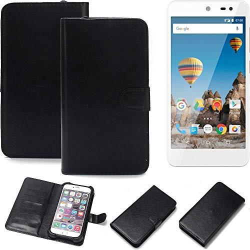 K-S-Trade Wallet Case Handyhülle General Mobile GM 5 Schutz Hülle Smartphone Flip Cover Flipstyle Tasche Schutzhülle Flipcover Slim Bumper schwarz, 1x