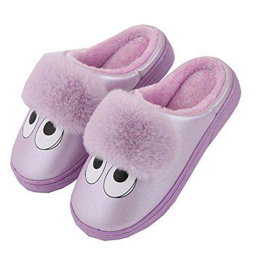 cartone animato Pelle sintetica famiglia pantofole a casa-Unisex inverno caldo felpa scarpe stivali Violet