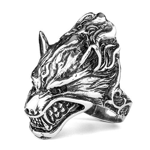 MENDINO - Anello a fascia da uomo in acciaio INOX, per motociclisti, con motivo in stile vampiresco a forma di testa digrignante del re dei lupi mannari, acciaio inossidabile, 24,5, cod. JRG0039SI-7 UK