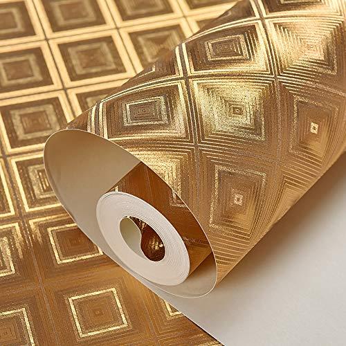 YANGMAN Goldfolie Tapete Regal Schublade Liner Vinyl wasserdichte 3D Wandtattoo für Heimküchen Bar Büro Decke Dekorative Tapetenbahn 1,73 'W x 32,8' L,D Ld-liner