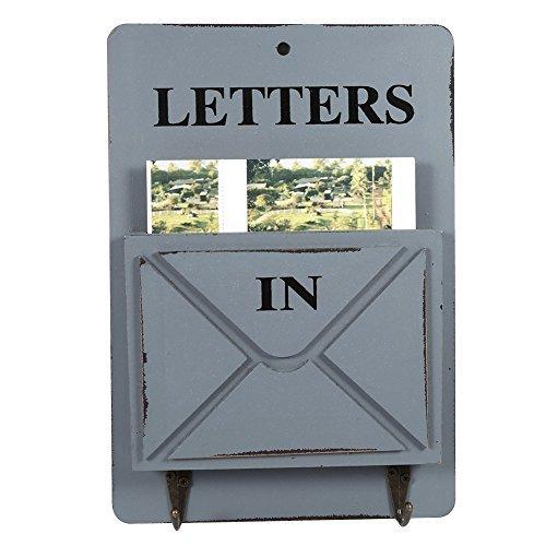 Holz Briefkasten Buchstabe Rack Wand montiert Mail Sortiermaschine Aufbewahrungsbox Schlüssel Haken stehend Holder Organizer Flur Eingang holt Hängekorb Vintage Home Dekoration grau (Rack Und Mail Schlüssel Wandhalterung)
