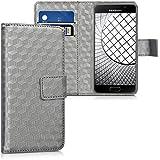 kwmobile Étui en cuir synthétique chic pour Samsung Galaxy A3 (2016) avec fonction support pratique. Design carré métallique en anthracite