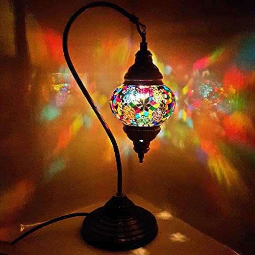 Turkish/Moroccan Lamp Glass Desk Table Lamp with UK Plug and Switch - G16