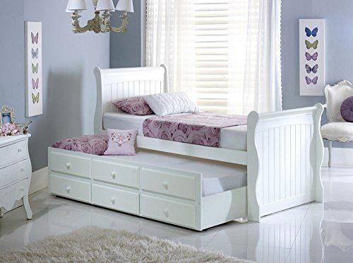 Happy Beds Meadow Guest Bed and Trundle Soft White Wooden with 2 x Pocket Sprung Mattresses 3' Single 90 x 190 cm