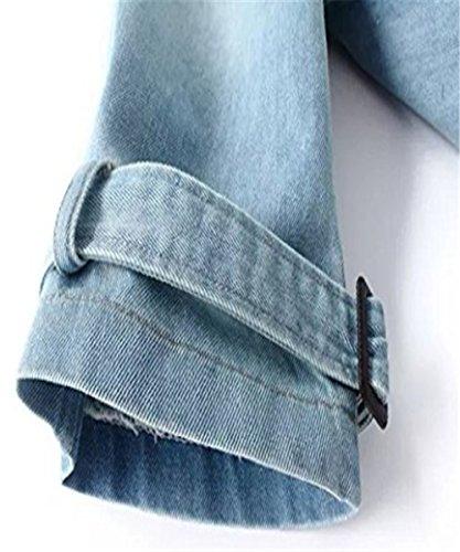 IWFREE Damen Jeansjacke Mantel Denim Jacke mit Knopfverschluss Jeans Jeanshemd Windjacke Mädchen Übergangs Freizeit Kleider Oversize Hellblau