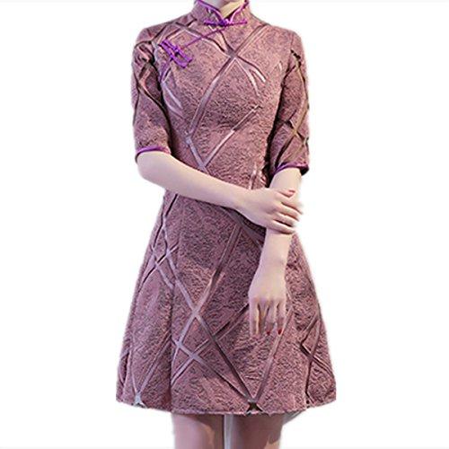 JKJHAH Bankett Abendkleider Brautjungfer Kleider Party Kleider Kleider Dinner Parties, Lavendel, M -