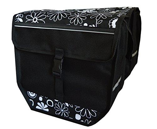 FAHRRADTASCHE Erwachsene Satteltasche Gepäckträgetasche Doppel 2x15l / Einzelne 1x15l 23. Duo - Blumen S/W