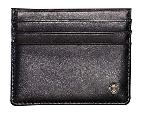 Cronus & Rhea Kartenhalter aus exklusivem Leder (Argos) | Kartenetui - Kreditkartenetui - Kartenhülle - Ausweishülle | Echtleder | Mit eleganter Geschenkbox | Herren - Damen (Schwarz)