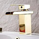 WYX@ Robinet de lavabo monotrou cuivre doré robinet chute d'eau chaude et froide brossé