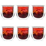 YEM 6 x 450ml doppelwandige Thermo-Gläser, für Latte Macchiato, Cocktails, Desserts, Tee Glas-Set, Doppelwandgläser, Big-Y