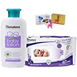 Himalaya Herbals Baby Lotion (200ml)+Himalaya Herbals Soothing Baby Wipes (12 Sheets) With Happy Baby Luxurious Kids Soap With Toy (100gm)