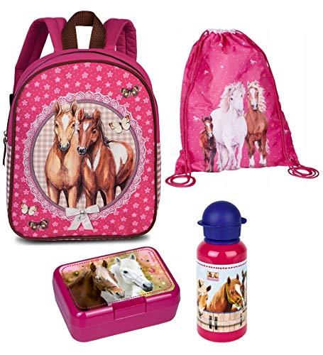 Familando Mädchen Rucksack-Set 4tlg. mit Brotdose, Trinkflasche und Turnbeutel für Kinder-Garten / Krippe Rosa Pferde-Freunde -