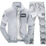 Clothes Old Navy Best Deals - walk-leader hombre Casual Impreso Zip Up dos piezas Chándal Sets gris gris Large