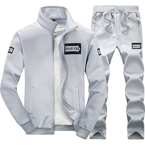 walk-leader Uomo Casual Stampato Zip Up due pezzi tuta Sports Set Grey Large