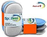 antibactérien en microfibre de cuisine de tampons à récurer double face éponges grattante non Odor Brosse à plat antiadhésif, idéal pour poêles Pots, Lot de 6