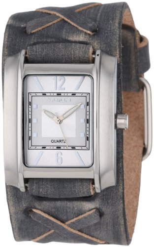 Nemesis Men's FXB013S Square in Square Collection Grey Faded X Leather Band Watch