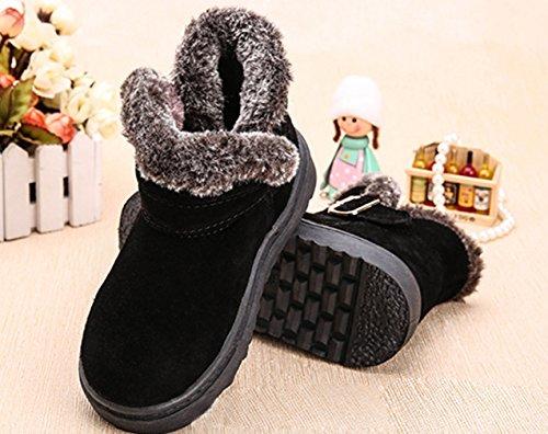 La Vogue Boots Bottine Neige Simili Cuir Fourrée Chaude Botte Hiver Classique Enfant Mixte Noir