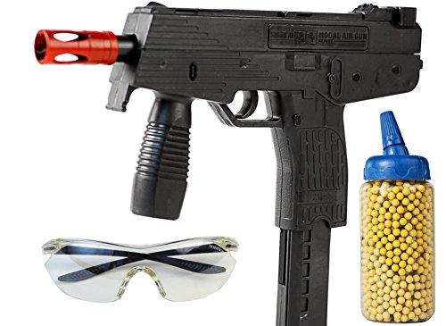 Nick and Ben Softair-Pistole Softair-Gewehr MG9 Set inkl. 500 Kugeln und Schutzbrille 6 mm schwarz Federdruck ABS ab 3 Jahre max. 0,08 Joule (Airsoft Schutzbrille-fan)