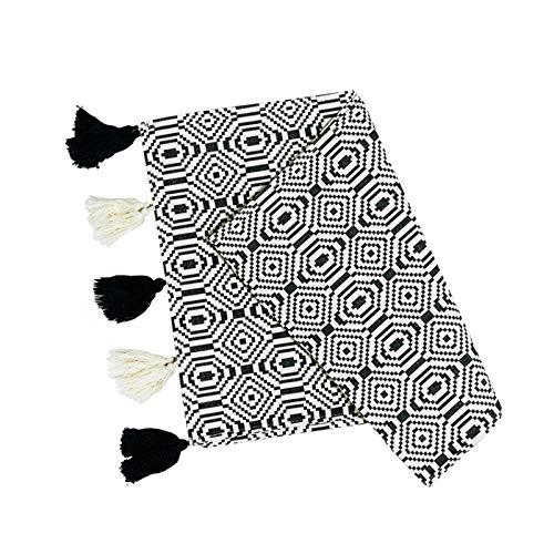 r Tischdecke Abdeckung Stoff Nordic Geometrische Weiß Schwarz Geometrische Quasten Moderne Home Office Shop Dekoration 35 * 180 cm ()