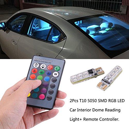 T10 6SMD 5050 RGB auto stroboscopica LED lampadina interna lettura cuneo luci 16 colori cangianti lampada con telecomando senza fili, gel di silice chip board LED lampadine di ricambio