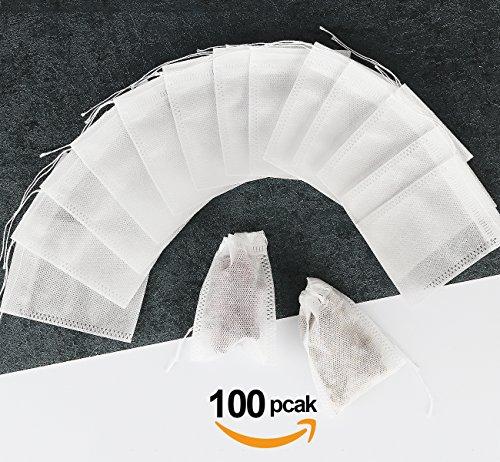 100 Teebeutel feine Teefilter Selbstbefüllbar ilauke Einweg Teabag 55mm X 70mm für Tee Obsttee Teeblumen Gewürz Kräuterpulver in Teekanne Tasse und viele weitere Möglichkeiten (100x)