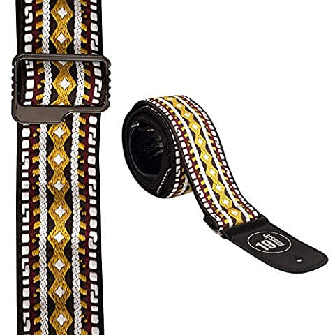 Ethnic Embroidered Guitar Strap (brown, beige & yellow tones)