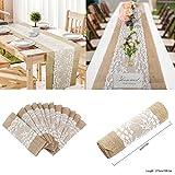 Tischläufer, Natur-Jute mit weißer Spitze, 30cm x 275cm - Hochzeitsdekoration