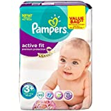 PAMPERS Couches Active Fit Taille 3 + midi (5-10 kg) - Format drugbag x 45 couches
