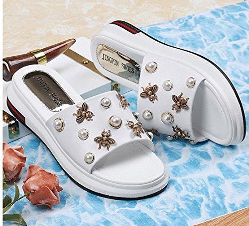 XY&GKFond épais des femmes d'été Cool Pantoufles et chaussons de pente 39 white