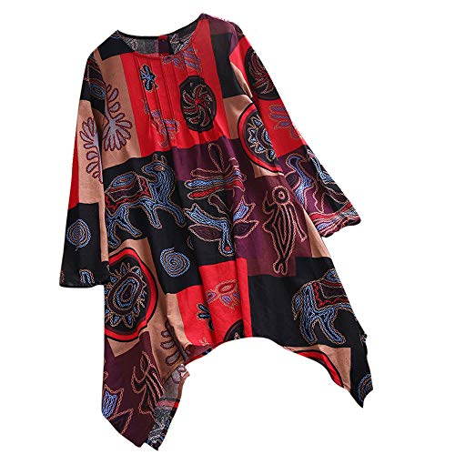 SMILEQ Top Women Long Sleeve Print Loose Blouse Pullover Button Tops Shirt