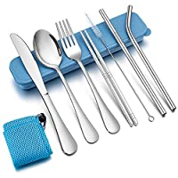 9 Piece Camping Cutlery Set, TeamFar Stainless Steel Travel Cutlery Sets for 1, Reusable & Portable Picnic Utensils Set, Pink/Green/Blue/Wheat Case & Bag