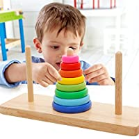 Wood Collection(TM) Creative 8 Rings Tower of Hanoi Wooden Logic Brain Teaser Puzzle - Perfect Christmas Gift for Your Kids
