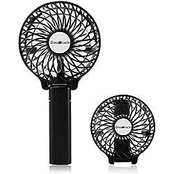 Dreamiracle Ventilateur Portable Mini Ventilateur PC USB de Poche Table a Pile Rechargeable 3 Vitesses Petit Puissant à Main Ventilo Pour Maison Bureau (Noir)