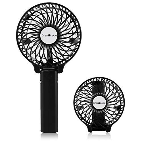 Ventilateur Portable, Mini Ventilateur PC USB de Poche Table a Pile Rechargeable 3 Vitesses Petit Puissant à Main Ventilo Pour Maison Bureau (Noir)