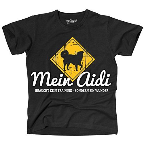 Siviwonder Unisex T-Shirt AIDI Wunder NO Training Schäferhund witzig funny Hunde + Aufkleber Schwarz