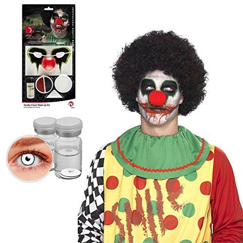 Oramics Horror Clown Halloween Maske für Erwachsene – Inklusive Smiffy´s Kontaktlinsen Weiß, Make Up Set, Verkleidung für Männer und Frauen, (Make Männer Halloween Up)