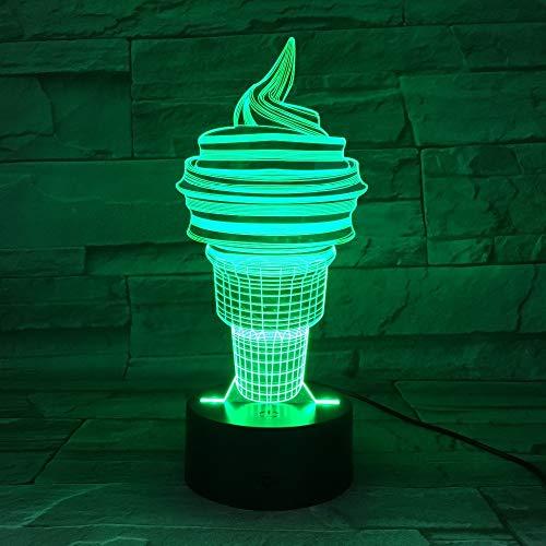 wangZJ 3d Weihnachtsgeschenk Nachtlicht / 3d Illusion Lampe/neben Tischlampe/Geburtstagsgeschenk / 7 Farben/USB-Kabel/Eistüte