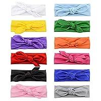 ZaBaYa Baby Girls Organic Cotton Headbands Set (Rainbow Knotted Bow Set (12 Pcs))