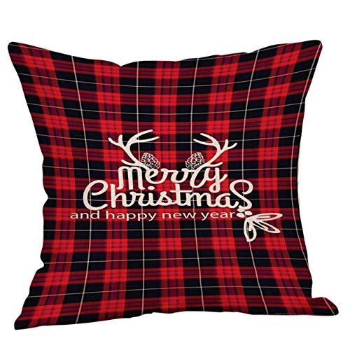 Joyeux Noël Taie d'oreiller Taie d'oreiller De Noël Lettre Imprimer Cadeau De Noël À Carreaux Throw Taie d'oreiller Couverture Coussin 18 x 18 Pouce Bellelo