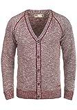 !Solid Thiamin Herren Strickjacke Cardigan Feinstrick Mit V-Ausschnitt und Knopfleiste Aus 100% Baumwolle, Größe:XXL, Farbe:Wine Red (0985)