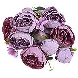 EWEFWFYT Qualität seidenblume Europäischen 1 Bouquet Künstliche Blumen Fall Klare Pfingstrose Gefälschte Blatt Hochzeit Home Party Dekoration
