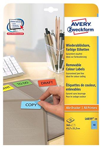 Avery Zweckform L6039-20 Farbige Etiketten (A4, 960 Stück, ablösbar, 45,7 x 21,2 mm) 20 Blatt blau