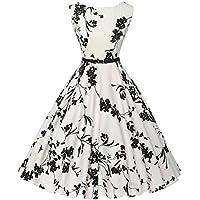 ��Vestidos Mujer Verano 2018 Vestido Vintage Mujer para Fiesta Baile Linda Floral Impresión de Vestido Cóctel Oscilación Vestido sin Mangas de la Vendimia para Mujer