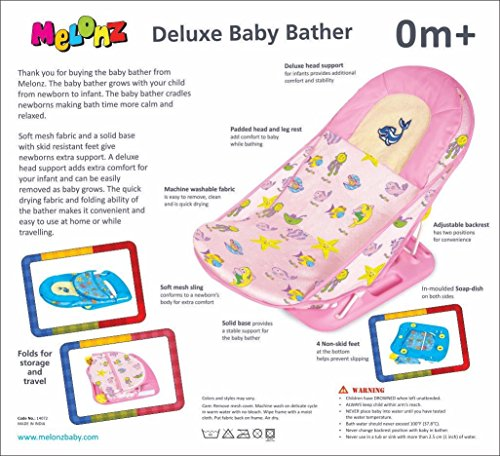 Melonz Deluxe Baby Bather With Head Support Pillow (pink)