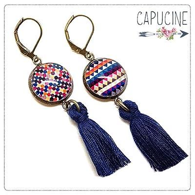 Boucles d'oreilles pendantes avec cabochon chevrons - Boucles d'oreilles pompons - Chevrons, pois & Losanges